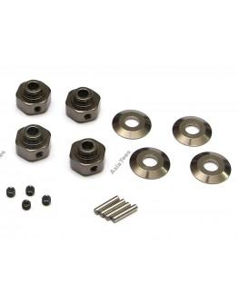 Boom Racing Aluminum Hexagon wheel Hub (4) Gun Metal for Axial Wraith