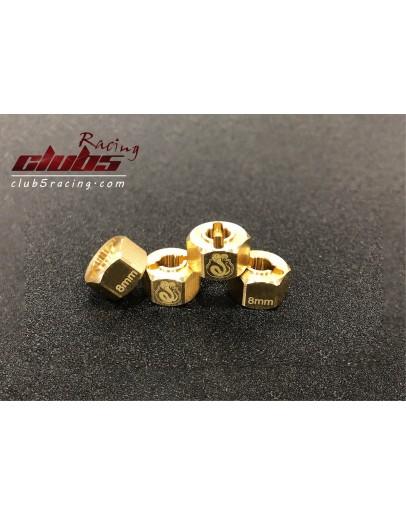 Brass Extended Wheel Hex Set 8 mm ( 4 )