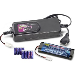 Kit battery charger 4 A + 8 x AA + 7.2 V/3000 mAh