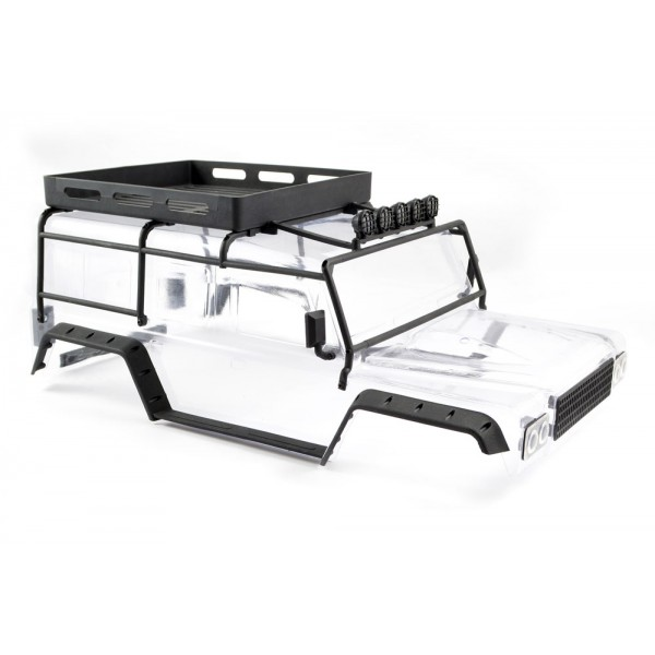 FTX KANYON CLEAR BODY W/ROLL CAGE, SPOTLIGHTS & TRAY
