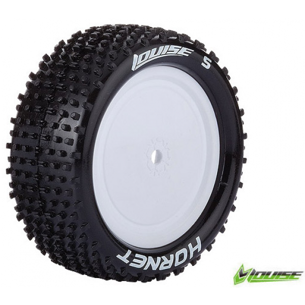 Louise RC - E-HORNET - 1-10 Buggy Tire Set - Mounted - Super Soft - White Rims - Kyosho - Hex 12mm - 4WD - Front - 1 Pair