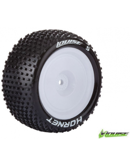 Louise RC - E-HORNET - 1-10 Buggy Tire Set - Mounted - Super Soft - White Rims - Kyosho - Hex 12mm - 4WD - Rear - 1 Pair