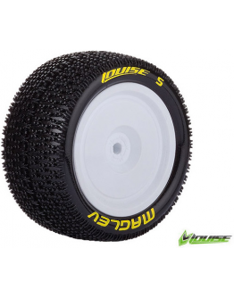 Louise RC - E-MAGLEV - 1-10 Buggy Tire Set - Mounted - Super Soft - White Rims - Kyosho - Hex 12mm - 4WD - Rear - 1 Pair