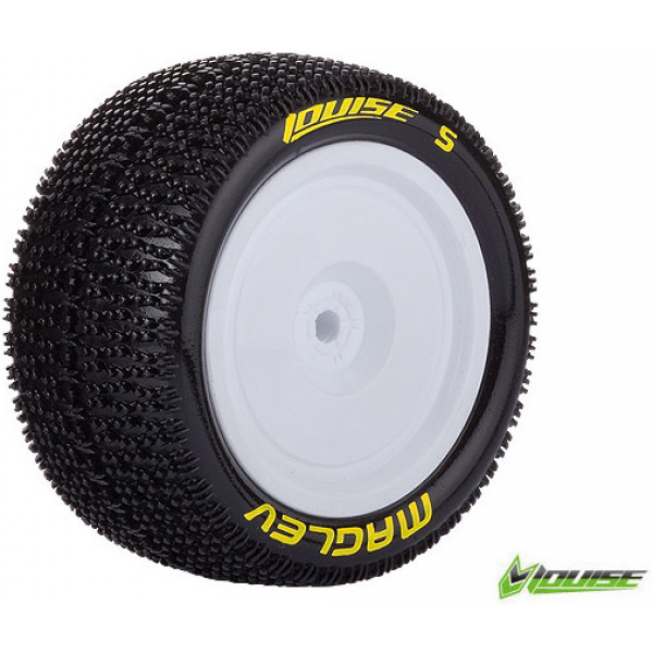 Louise RC - E-MAGLEV - 1-10 Buggy Tire Set - Mounted - Soft - White Rims - Kyosho - Hex 12mm - 4WD - Rear - (2u.)
