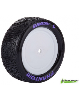Louise RC - E-PHANTOM - 1-10 Buggy Tire Set - Mounted - Super Soft - White Rims - Kyosho - Hex 12mm - 4WD - Front - 1 Pair