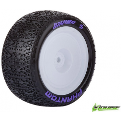 Louise RC - E-PHANTOM - 1-10 Buggy Tire Set - Mounted - Super Soft - White Rims - Kyosho - Hex 12mm - 4WD - Rear - 1 Pair