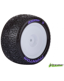 Louise RC - E-PHANTOM - 1-10 Buggy Tire Set - Mounted - Soft - White Rims - Kyosho - Hex 12mm - 4WD - Rear - (2u.)