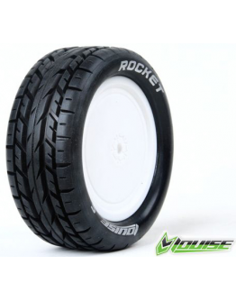 Louise RC - E-ROCKET - 1-10 Buggy Tire Set - Mounted - Soft - White Rims - Kyosho - Hex 12mm - 4WD - Front - (2u.)