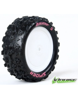 Louise RC - E-SPIDER - 1-10 Buggy Tire Set - Mounted - Soft - White Rims - Kyosho - Hex 12mm - 4WD - Front - (2u.)