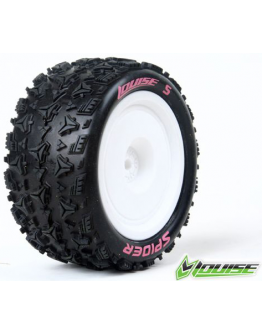 Louise RC - E-SPIDER - 1-10 Buggy Tire Set - Mounted - Soft - White Rims - Kyosho - Hex 12mm - 4WD - Rear - (2u.)