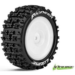 Louise RC - E-PIONEER - 1-10 Buggy Tire Set - Mounted - Soft - White Rims - Kyosho HEX 12mm - 4WD - Rear - (2u.)