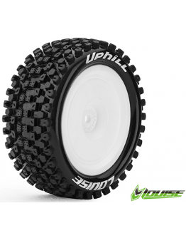 Louise RC - E-UPHILL - 1-10 Buggy Tire Set - Mounted - Soft - White Rims - Kyosho HEX 12mm - 4WD - Rear - (2u.)