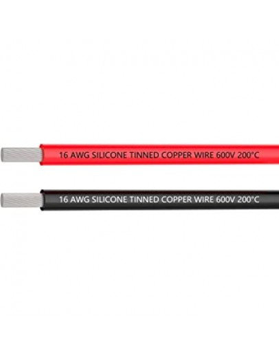 Silicone 1m 16AWG (Red + Black)