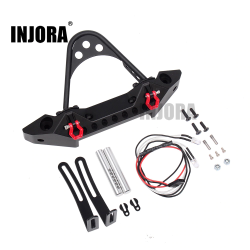INJORA Metal Black Front Bumper with Light for 1/10 RC Crawler