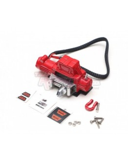 Team Raffee Co. 1/10 Scale Alloy Winch for RC Crawler 6-12V Red